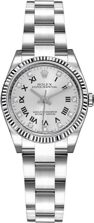 replique Montre Rolex Oyster Perpetual 26 cannelée en or blanc 176234