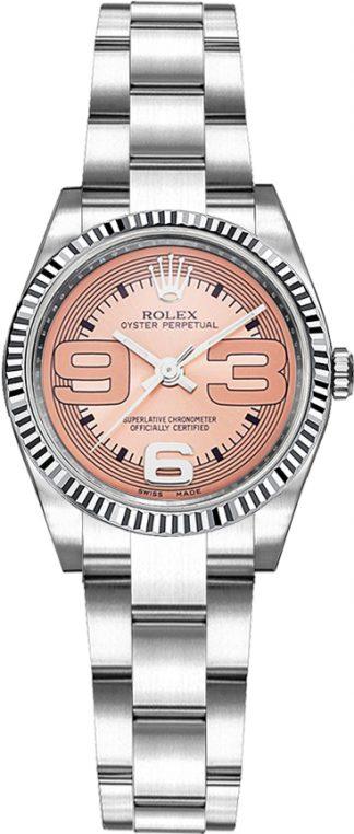 replique Montre Rolex Oyster Perpetual 26 en acier et lunette en or blanc 176234