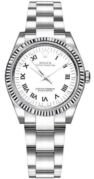 replique Montre Rolex Oyster Perpetual 31 à cadran blanc et chiffres romains 177234