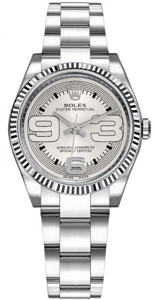 replique Montre Rolex Oyster Perpetual 31 cadran argenté or et acier 177234