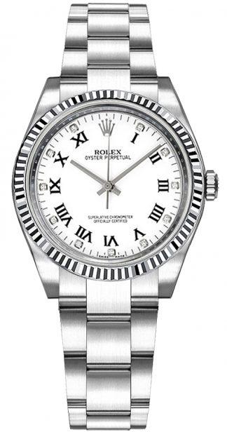 replique Montre Rolex Oyster Perpetual 31 en or et diamant en acier 177234