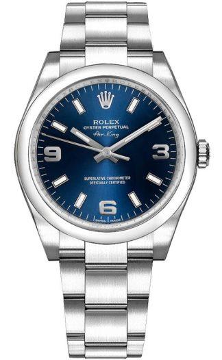 replique Montre Rolex Oyster Perpetual 34 cadran bleu de taille moyenne 114200