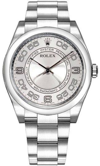 replique Montre Rolex Oyster Perpetual 36 avec dôme et cadran argenté 116000