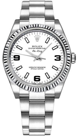 replique Montre Rolex Oyster Perpetual Air-King à cadran blanc 114234
