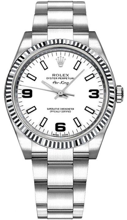 replique Montre Rolex Oyster Perpetual Air-King à cadran blanc 114234
