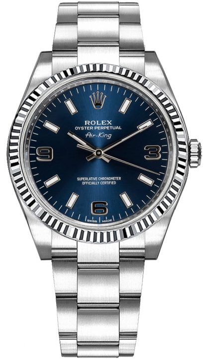 replique Montre Rolex Oyster Perpetual Air-King à cadran bleu 114234