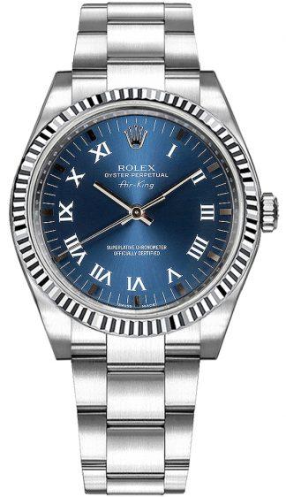 replique Montre Rolex Oyster Perpetual Air-King en acier inoxydable 114234
