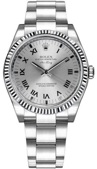 replique Montre Rolex Oyster Perpetual Air-King en acier inoxydable et lunette en or 114234