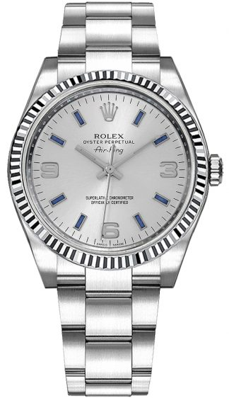 replique Montre Rolex Oyster Perpetual Air-King en or blanc avec lunette cannelée 114234
