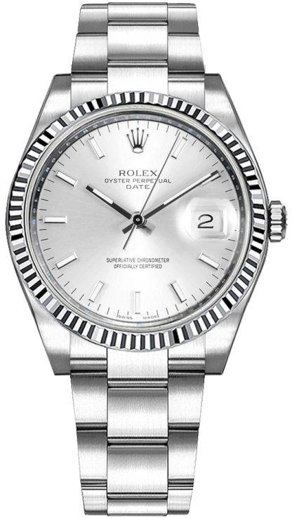 replique Montre Rolex Oyster Perpetual Date 34 à cadran argenté 115234