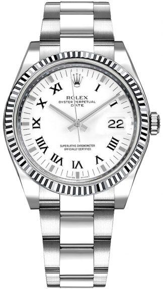 replique Montre Rolex Oyster Perpetual Date 34 Blanc Chiffre Romain 115234