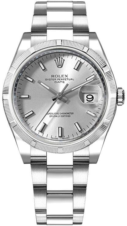 replique Montre Rolex Oyster Perpetual Date 34 cadran argenté 115210