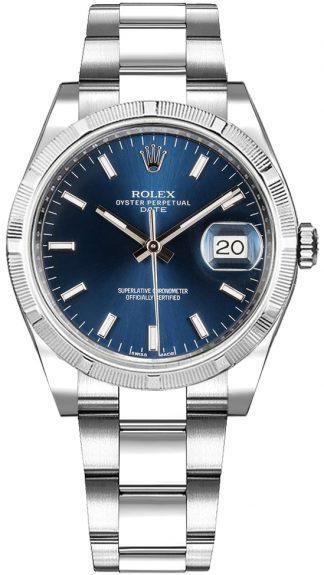 replique Montre Rolex Oyster Perpetual Date 34 cadran bleu 115210