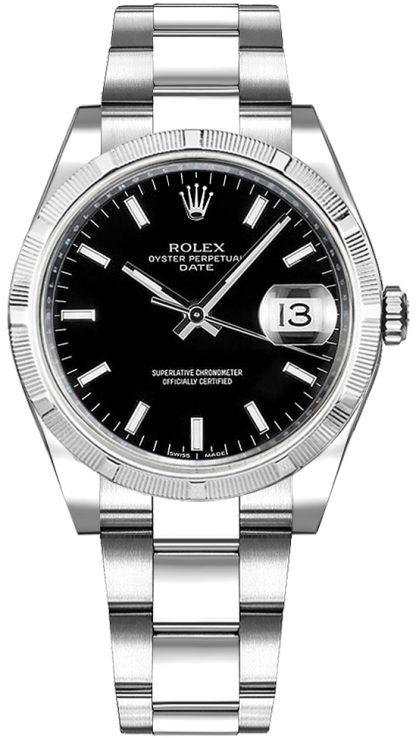 replique Montre Rolex Oyster Perpetual Date 34 cadran noir 115210