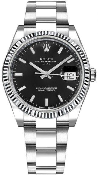 replique Montre Rolex Oyster Perpetual Date 34 cadran noir 115234