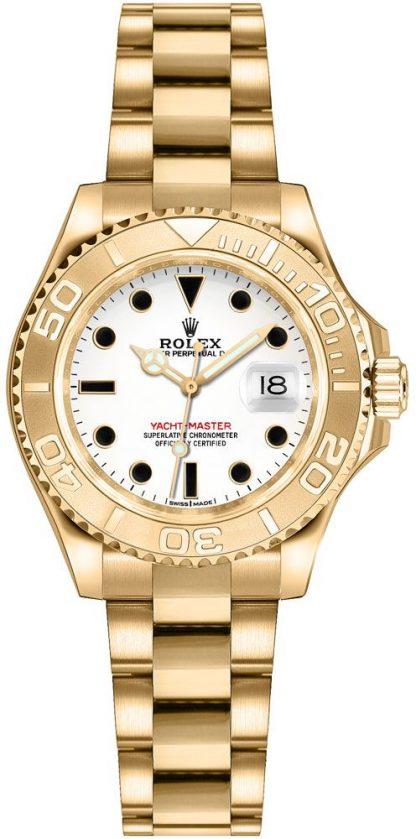 replique Montre Rolex Yacht-Master 29 cadran blanc en or jaune 169628