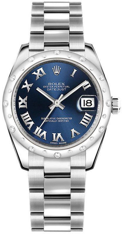 replique Montre bracelet Rolex Datejust 31 bleu chiffre romain Oyster 178344