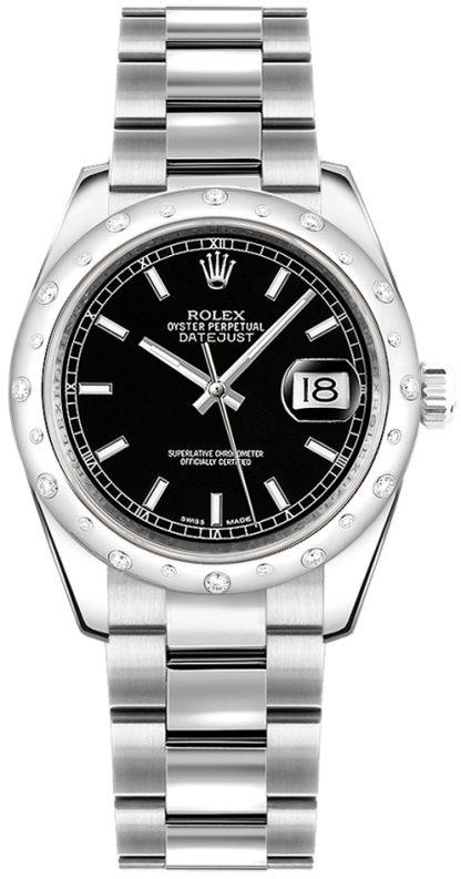 replique Montre bracelet Rolex Datejust 31 cadran noir Oyster 178344
