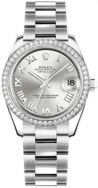 replique Montre bracelet Rolex Datejust 31 en argent avec chiffres romains et huître 178384