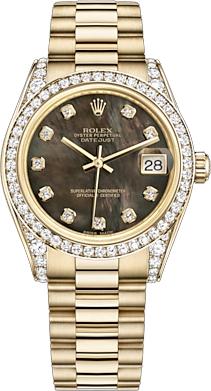 replique Montre bracelet Rolex Datejust 31 en nacre noire avec diamant President President 178158