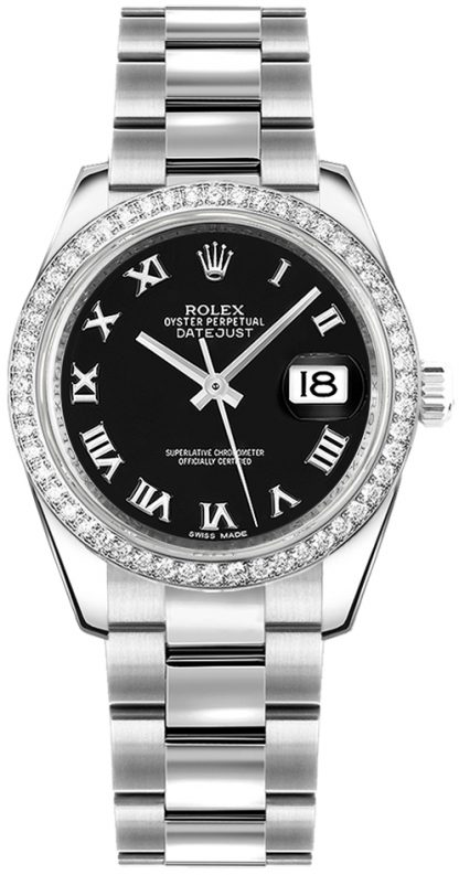 replique Montre bracelet Rolex Datejust 31 noir chiffre romain Oyster 178384