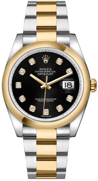 replique Montre bracelet Rolex Datejust 36 Black Diamond Oyster 116203