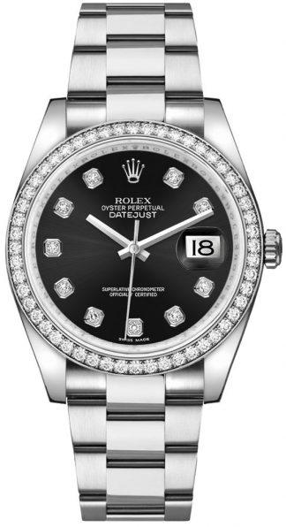 replique Montre bracelet Rolex Datejust 36 Black Diamond Oyster 116244