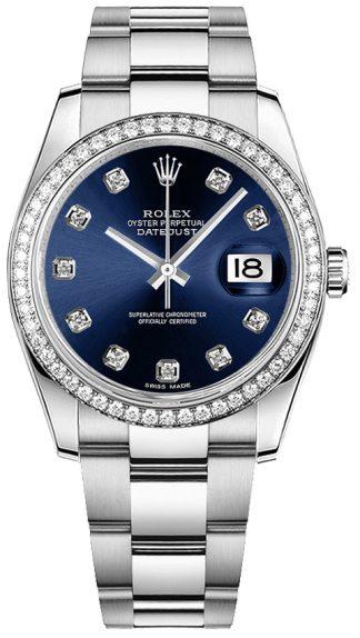replique Montre bracelet Rolex Datejust 36 Blue Diamond Oyster 116244