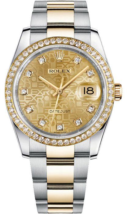 replique Montre bracelet Rolex Datejust 36 acier et or jaune Oyster 116243