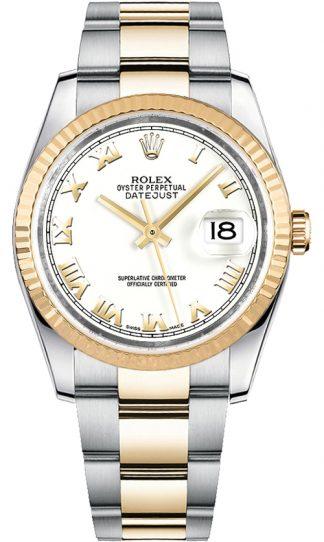 replique Montre bracelet Rolex Datejust 36 blanc chiffre romain Oyster 116233