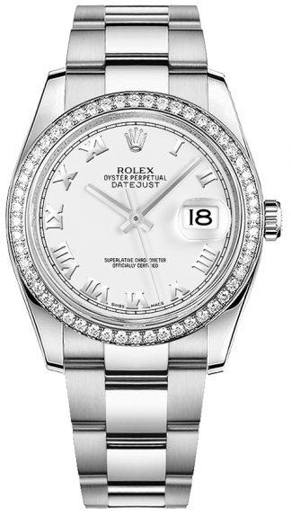 replique Montre bracelet Rolex Datejust 36 blanc chiffre romain Oyster 116244