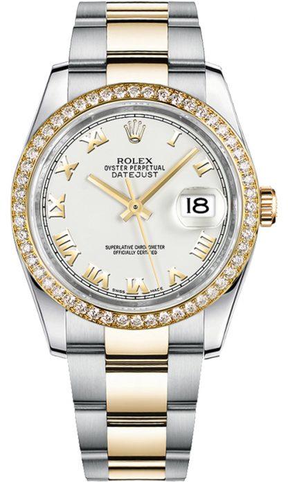 replique Montre bracelet Rolex Datejust 36 blanc chiffre romain diamant Oyster 116243