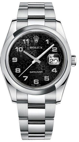 replique Montre bracelet Rolex Datejust 36 cadran noir Oyster 116200