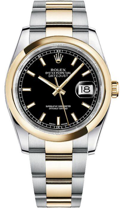 replique Montre bracelet Rolex Datejust 36 cadran noir Oyster 116203