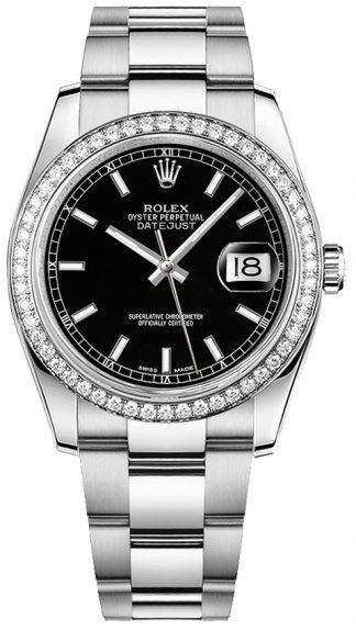 replique Montre bracelet Rolex Datejust 36 cadran noir Oyster 116244