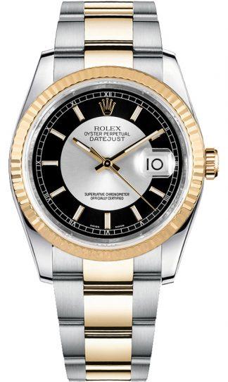 replique Montre bracelet Rolex Datejust 36 cadran noir et argent Oyster 116233