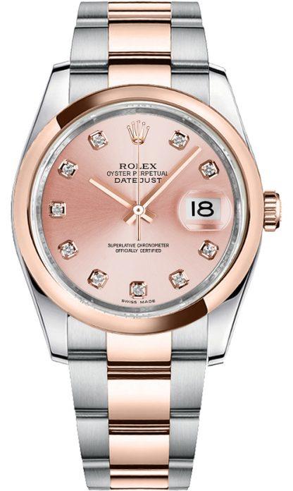 replique Montre bracelet Rolex Datejust 36 diamant rose Oyster 116201