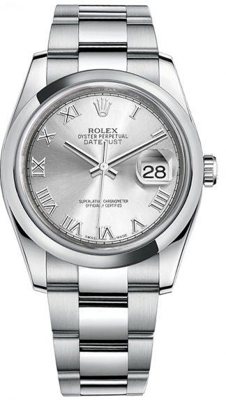 replique Montre bracelet Rolex Datejust 36 en argent avec chiffres romains et huître 116200