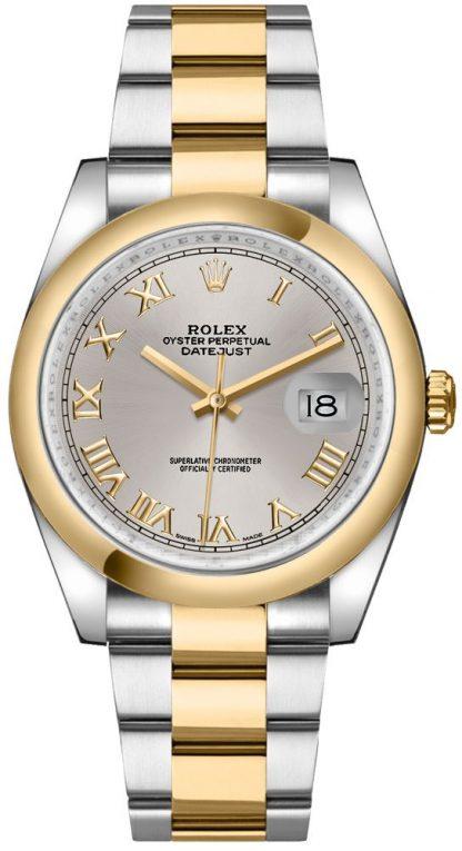 replique Montre bracelet Rolex Datejust 36 en argent avec chiffres romains et huître 116203