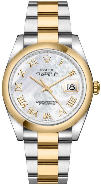 replique Montre bracelet Rolex Datejust 36 en nacre avec chiffre romain Oyster 116203
