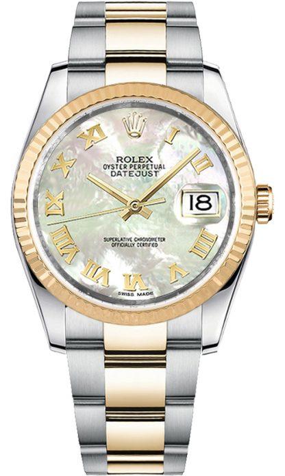 replique Montre bracelet Rolex Datejust 36 en nacre avec chiffre romain Oyster 116233