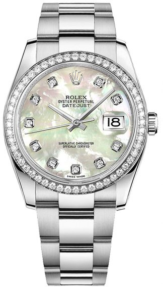 replique Montre bracelet Rolex Datejust 36 en nacre et diamant Oyster 116244