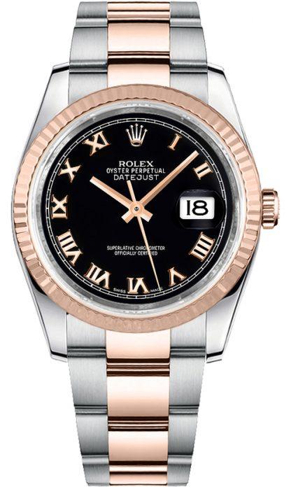 replique Montre bracelet Rolex Datejust 36 noir chiffre romain Oyster 116231