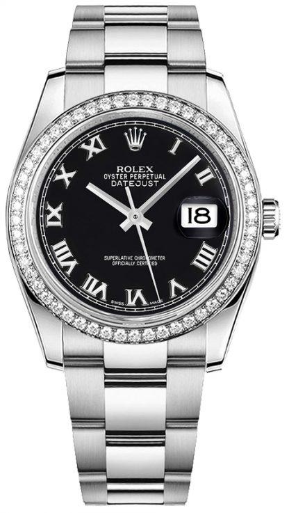 replique Montre bracelet Rolex Datejust 36 noir chiffre romain Oyster 116244