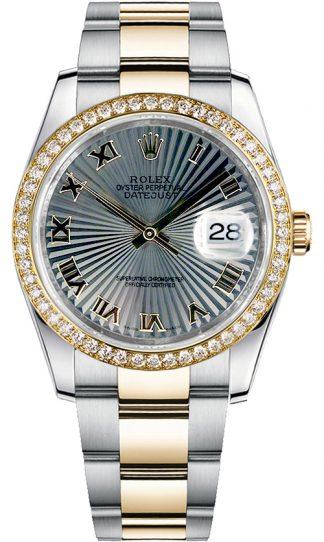 replique Montre bracelet Rolex Datejust 36 or et acier jaune Oyster 116243
