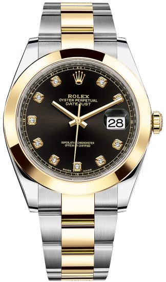 replique Montre bracelet Rolex Datejust 41 Black Diamond Oyster 126303