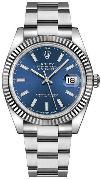 replique Montre bracelet Rolex Datejust 41 cadran bleu Oyster 126334