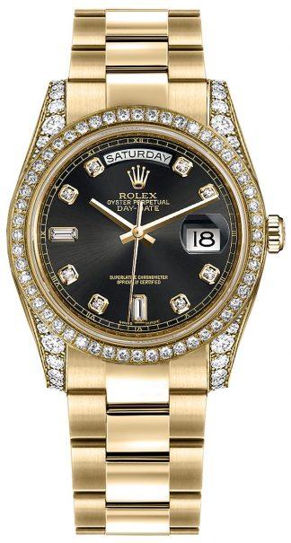 replique Montre bracelet Rolex Day-Date 36 Black Diamond Oyster 118388
