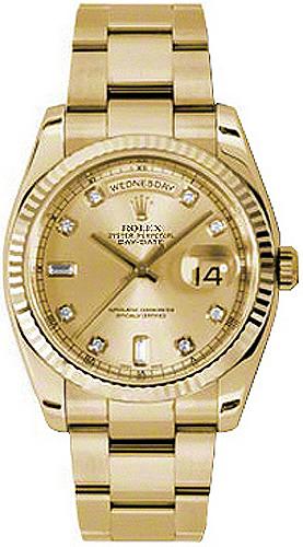 replique Montre bracelet Rolex Day-Date 36 Champagne Diamond Oyster 118238