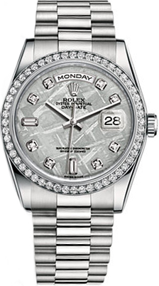 replique Montre bracelet Rolex Day-Date 36 Platinum Diamond President 118346